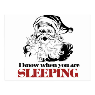 Santa knows when you are sleeping postcard