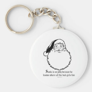 Santa knows where all the bad girls live basic round button keychain