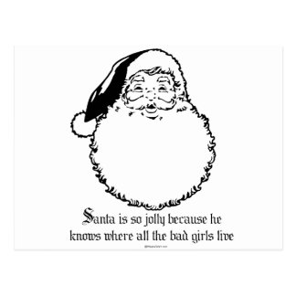 Santa knows where all the bad girls live postcard