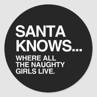 SANTA KNOWS WHERE ALL THE NAUGHTY GIRLS LIVE -.png Stickers