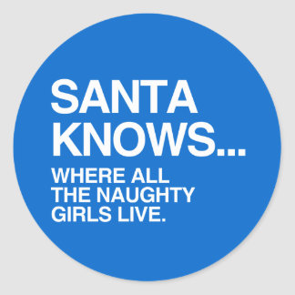 SANTA KNOWS WHERE ALL THE NAUGHTY GIRLS LIVE ROUND STICKERS