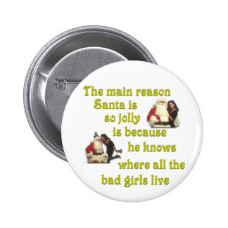 Santa Knows Where the Bad Girls Live 2 Inch Round Button