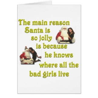 Santa Knows Where the Bad Girls Live Greeting Card
