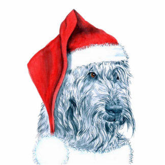 Santa Labradoodle Sculpture Standing Photo Sculpture