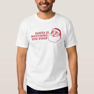 Santa le está mirando camiseta de la camiseta del poleras