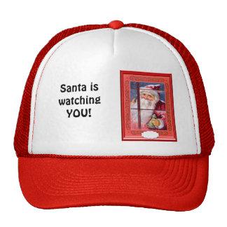 Santa le está mirando gorros bordados