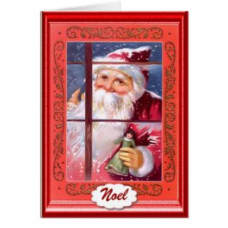 Santa le está mirando tarjeta de felicitación