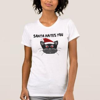 Santa le odia, camisetas divertidas del gato del remeras