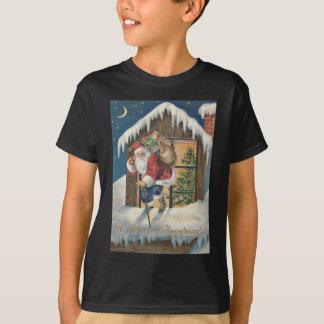 Santa Leaving House Christmas Tree T-Shirt