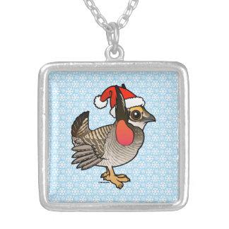 Santa Lesser Prairie-Chicken Silver Plated Necklace