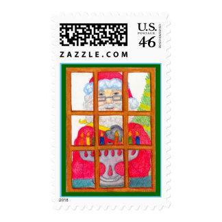 Santa Lighting Menorah Stamp