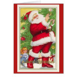 Santa Lighting Tree Vintage Christmas Card