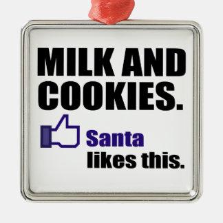Santa Likes Milk And Cookies Metal Ornament