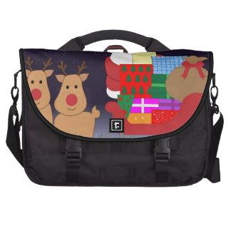 Santa lindo con el reno bolsa para ordenador