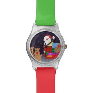 Santa lindo con el reno relojes