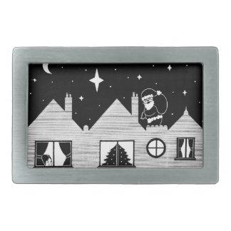 Santa lindo con el saco en arte blanco y negro del hebilla de cinturon rectangular