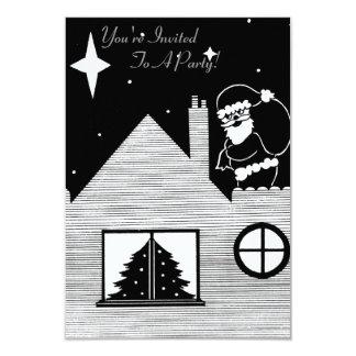 """Santa lindo con el saco en arte blanco y negro del invitación 3.5"""" x 5"""""""