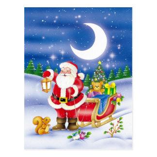 Santa lindo con el trineo tarjeta postal