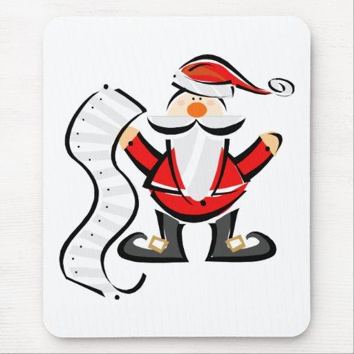 Santa lindo con la lista larga alfombrilla de ratones