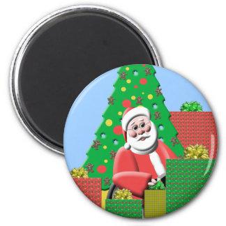 Santa lindo debajo del imán de la cocina del navid