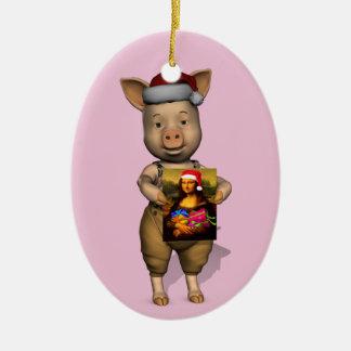 Santa lindo Piggie que muestra la imagen de Adorno Navideño Ovalado De Cerámica
