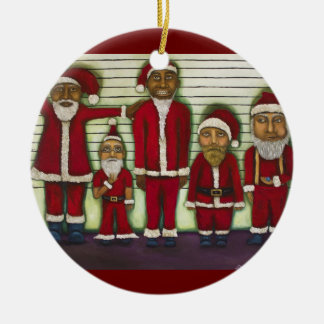 Santa Line Up Ceramic Ornament