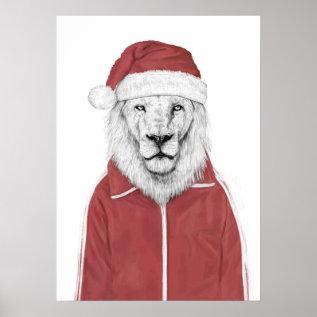 Santa Lion Poster at Zazzle