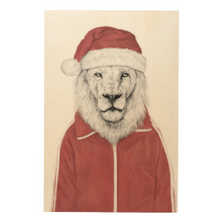 Santa lion wood wall decor