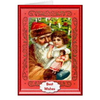Santa, little girl and a doll card