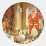 Santa llega con sus duendes de la hornada de la ga etiqueta