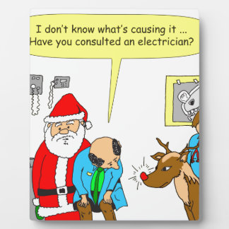 Santa lleva a Rudolph al doctor - dibujo animado Placa Para Mostrar