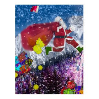Santa looks in a hurry postcard