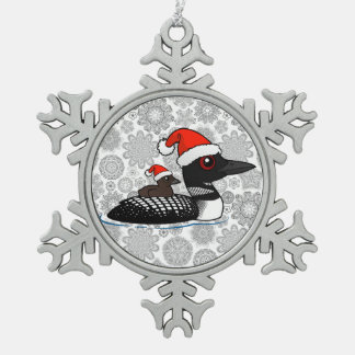 Santa Loon Snowflake Pewter Christmas Ornament