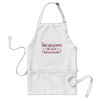 Santa Loves a Hot cookie Adult Apron