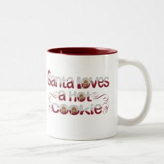 Santa Loves a Hot cookie Two-Tone Coffee Mug