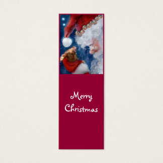 Santa Loves Animals Holiday bookmark Mini Business Card
