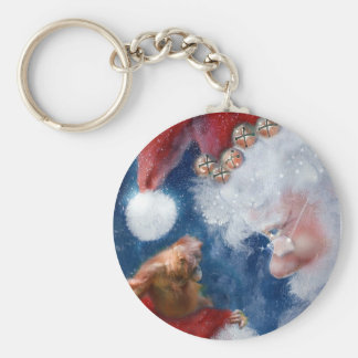 Santa Loves Animals Keychain