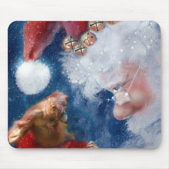 Santa Loves Animals Mouse Pad