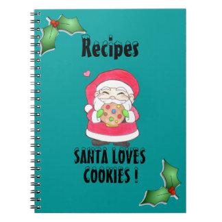 Santa Loves Cookies Recipe Notebook