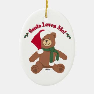 Santa Loves Me! Christmas Teddy Bear Ceramic Ornament