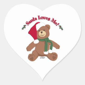 Santa Loves Me! Christmas Teddy Bear Heart Sticker