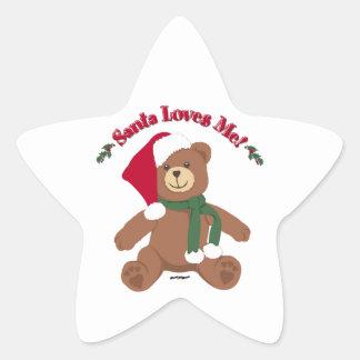 Santa Loves Me! Christmas Teddy Bear Star Sticker