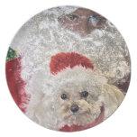 Santa Loves Poodles Dinner Plate