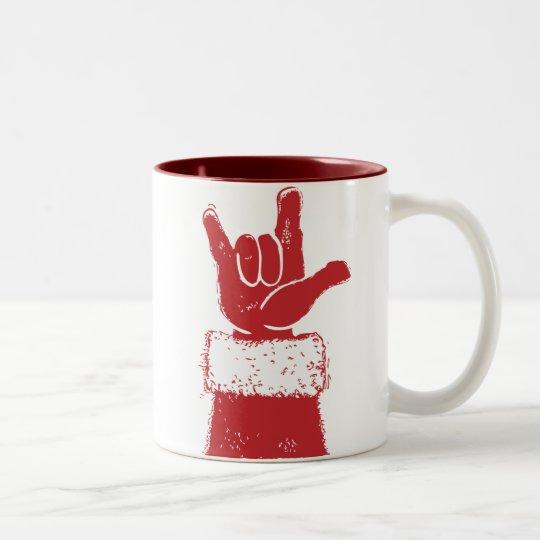 Santa Loves You Two-Tone Coffee Mug