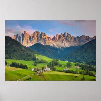 Santa Maddelena and The Dolomites in Val di Funes Print