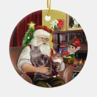 Santa - Maine Coon cat 10 Ceramic Ornament