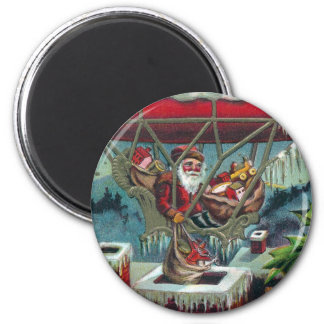 Santa Makes Deliveries From Dirigible 2 Inch Round Magnet