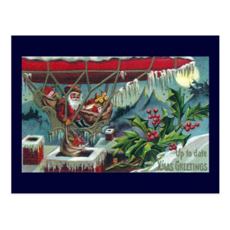 Santa Makes Deliveries From Dirigible Postcard