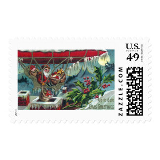 Santa Makes Deliveries From Dirigible Stamp
