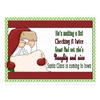 Santa making a list- christmas postcard